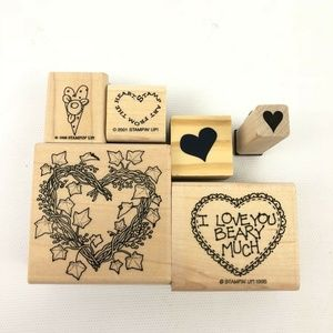 Set of 6 Wood Mounted Rubber Stamps Heart Theme